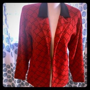 Vintage St John Red Plaid Sweater Size 4 Small